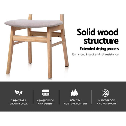 Artiss 'Ari' Replica Dining Chairs Retro Wood Chair With Fabric Pad x 2 - Beige solid wood structure