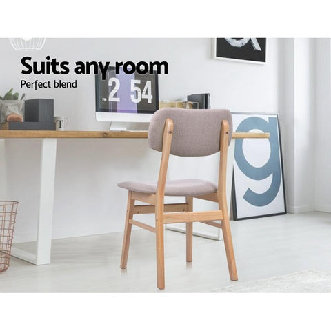 Artiss 'Ari' Replica Dining Chairs Retro Wood Chair With Fabric Pad x 2 - Beige suits home office