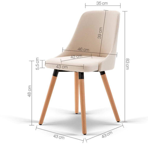 Artiss 'Kalmar' Fabric Dining Chair x 2 - Beige dimensions