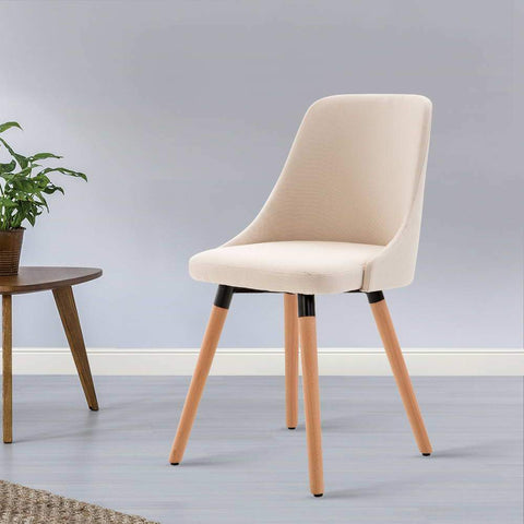 Artiss 'Kalmar' Fabric Dining Chair x 2 - Beige cheap dining chair