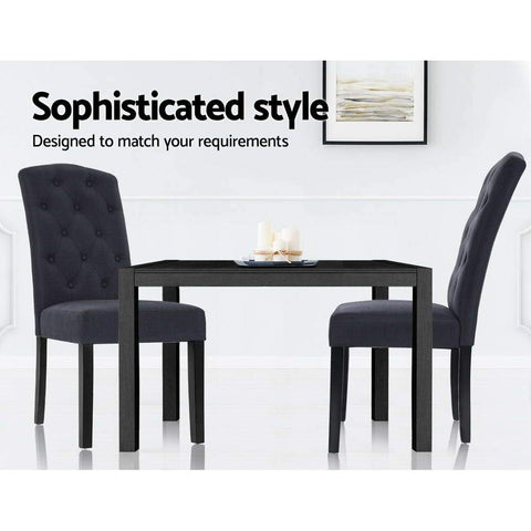 Artiss 'Danson' Dining Chairs French Provincial Fabric Padded High Back x 2 - Grey sophisticated style