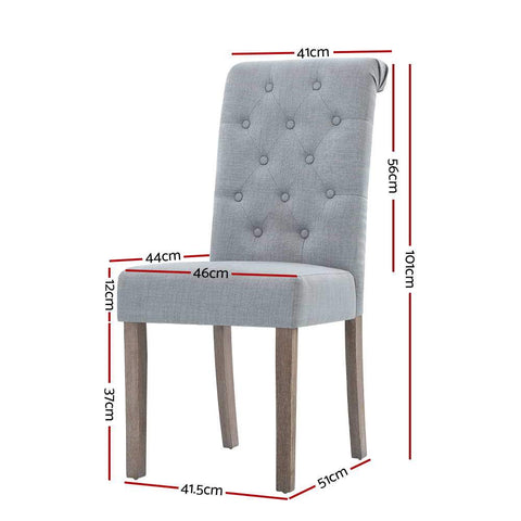 Artiss 'Danson' Dining Chairs French Provincial Fabric Padded High Back x 2 - Light Grey dimensions