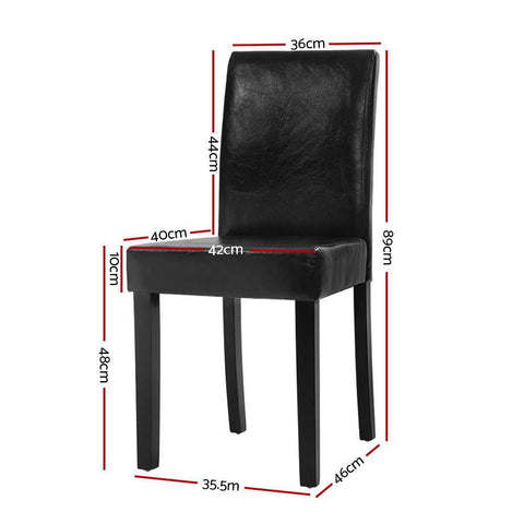 Artiss 'Duran' Dining Chairs PU Leather Padded High Back Wood x 2 - Black dimensions