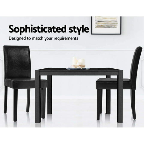 Artiss 'Duran' Dining Chairs PU Leather Padded High Back Wood x 2 - Black sophisticated style