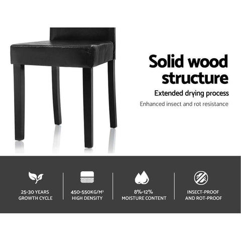 Artiss 'Duran' Dining Chairs PU Leather Padded High Back Wood x 2 - Black solid wood structure