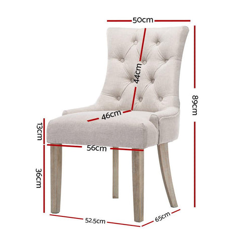 Artiss 'Cayes' Dining Chair French Provincial Fabric x 2 - Cream Beige dimensions
