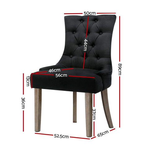 Artiss 'Cayes' Dining Chair French Provincial Fabric x 2 - Black dimensions