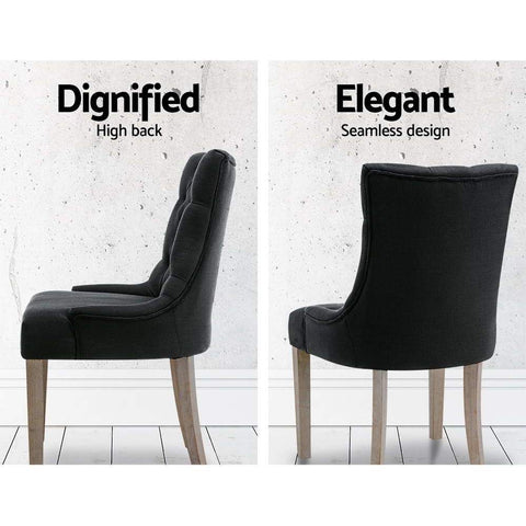 Artiss 'Cayes' Dining Chair French Provincial Fabric x 2 - Black dignified high back