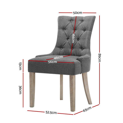 Artiss 'Cayes' Dining Chair French Provincial Fabric x 2 - Grey dimensions