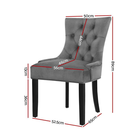 Artiss 'Cayes' Dining Chairs French Provincial Retro Chair Wooden Legs Velvet Fabric x 2 - Grey dimensions