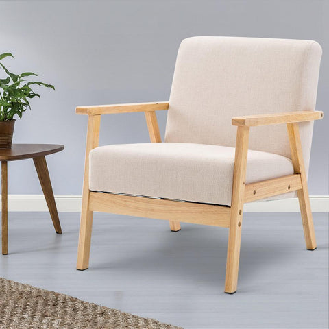 Artiss 'Skane' Fabric Dining Armchair - Beige dining room