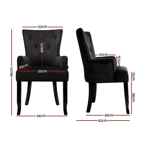 Artiss 'Cayes' Dining Chairs French Provincial Velvet Fabric Timber Retro - Black dimensions