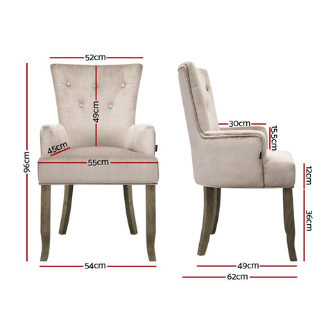 Artiss Dining Chairs French Provincial Velvet Fabric Timber Retro - Camel dimensions