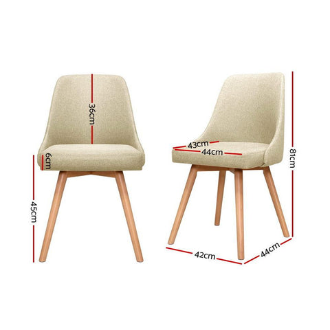 Artiss 'Kalmar' Replica Dining Chairs Beech Wooden Fabric x 2 - Beige dimensions