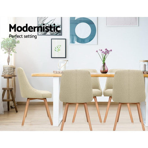 Artiss 'Kalmar' Replica Dining Chairs Beech Wooden Fabric x 2 - Beige modernistic