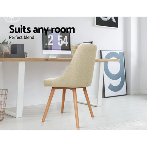 Artiss 'Kalmar' Replica Dining Chairs Beech Wooden Fabric x 2 - Beige suits any room