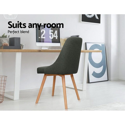 Artiss 'Kalmar' Replica Dining Chairs Beech Fabric x 2 - Grey suits any room