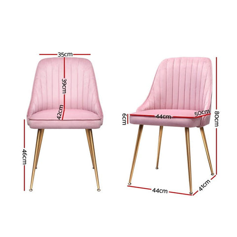 Artiss Dining Chairs Retro Modern Iron Legs Velvet x 2 - Pink dimensions