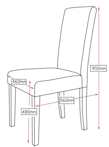 Premium Fabric Palermo Dining Chairs High Back x 2 - Light Slate Grey dimensions
