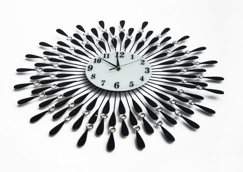 Large Modern 3D Crystal Wall Clock black and white clock