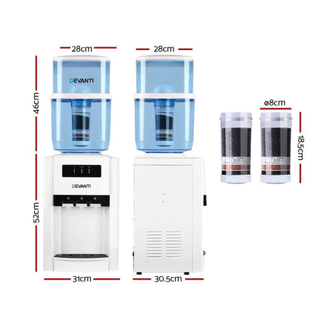 Devanti 22L Bench Top Water Cooler Dispenser Purifier Hot Cold Three Tap with 2 Replacement Filters - White dimensions