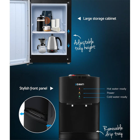 Devanti Water Cooler Dispenser Mains Bottle Stand Hot Cold Tap - Black water filter