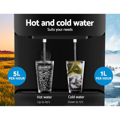 Devanti Water Cooler Dispenser Mains Bottle Stand Hot Cold Tap - Black hot and cold water