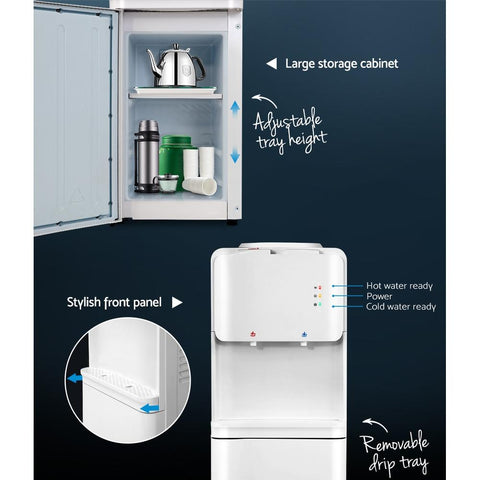 Devanti Water Cooler Dispenser Bottle Filter Purifier Hot Cold Taps Free Standing - White cabinet