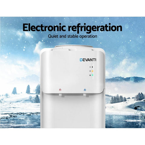 Devanti Water Cooler Dispenser Bottle Filter Purifier Hot Cold Taps Free Standing - White refrigeration