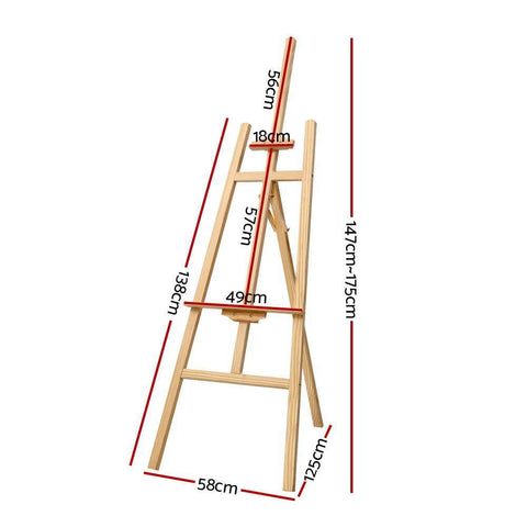 Pine Wood Easel Art Display Tripod Stand 175cm dimensions