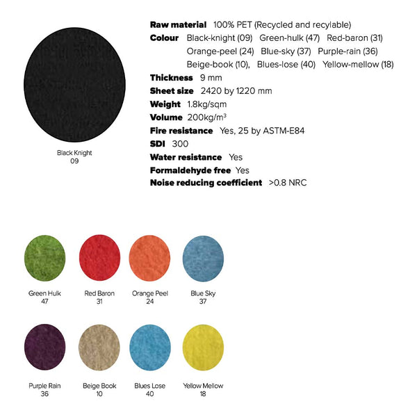 Zorb acoustic screen colour options