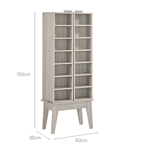 Multimedia DVD CD Storage Cabinet With Hidden Compartment - White Oak