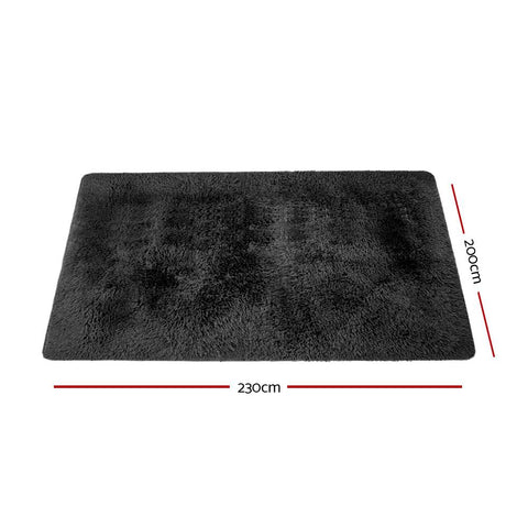Ultra Soft Shaggy Rug Large 200x230cm - Black floor mat