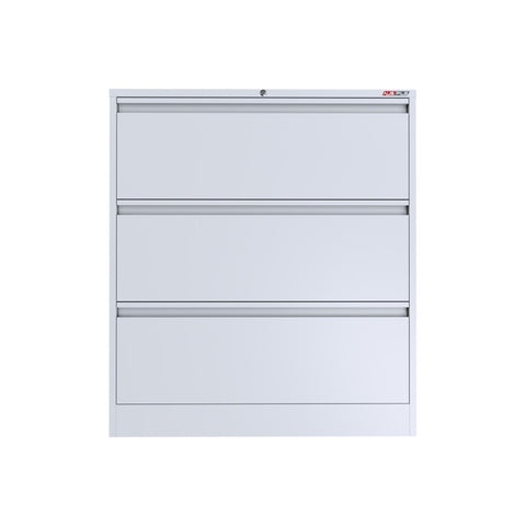 Ausfile 3 Drawer Lateral Filing Cabinet-LAT-3 White Filing Cabinet