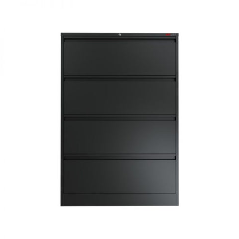 Ausfile 4 Drawer Lateral Filing Cabinet-LAT-4 Black Lateral Filing Cabinet