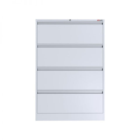 Ausfile 4 Drawer Lateral Filing Cabinet-LAT-4 White Lateral Filing Cabinet