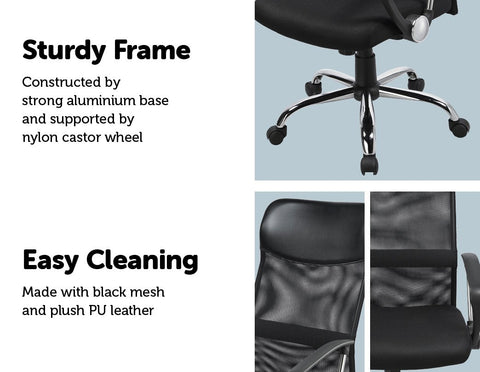 Ergonomic Executive Mesh PU Leather Office Chair - Black easy cleaning