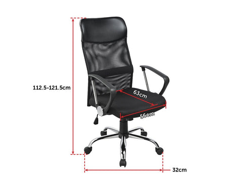 Ergonomic Executive Mesh PU Leather Office Chair - Black dimensions