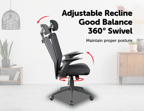 Ergonomic Mesh Office Chair - Black relining chair