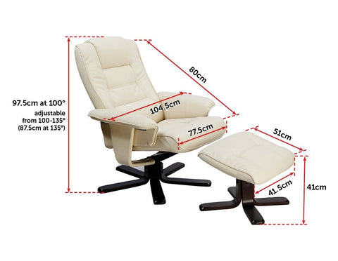 PU Leather Massage Chair Recliner Ottoman Lounge Remote - Cream recliner chair