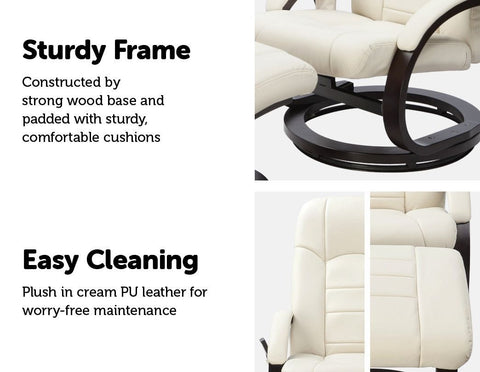 PU Leather Massage Chair Recliner Ottoman Lounge Remote - Cream leather recliner