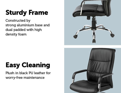 PU Leather Office Chair Executive Padded - Black executive office chair