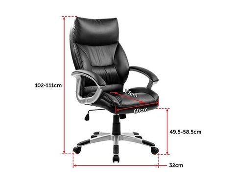 PU Leather Office Chair Executive Padded - Black office chair