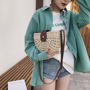 Women Straw Bag Fashion Summer Solid Handwoven