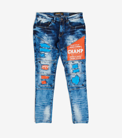 Decibel  Stone Embroidery Jeans With Inserts  Blue - 013026L34-BL | Jimmy Jazz
