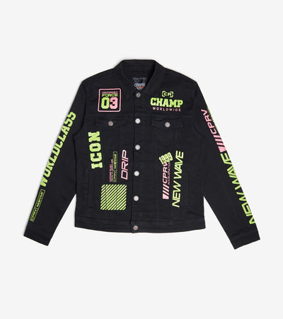 Decibel  Fluorescence Word Print Jacket  Black - 013601-BLK | Jimmy Jazz