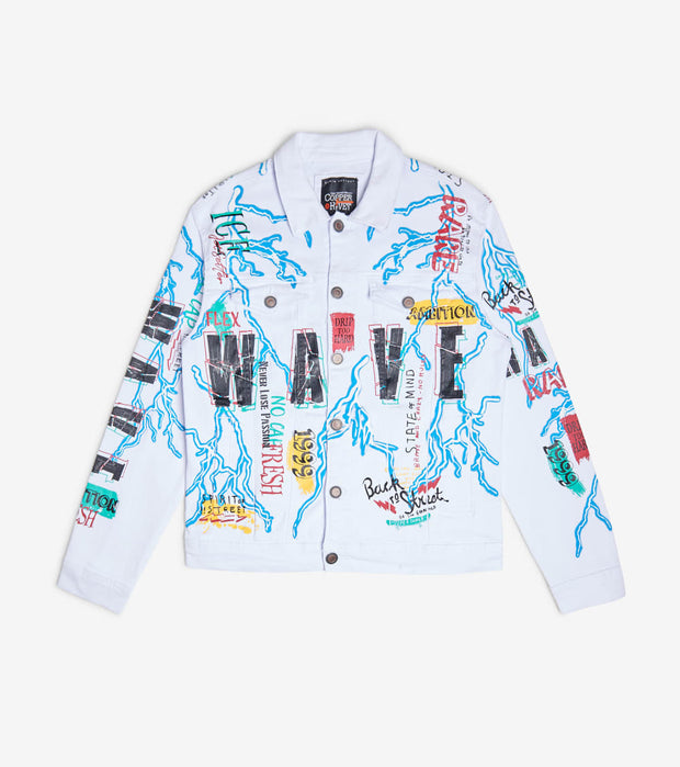 Decibel  Twill Jacket With Lightning N Wave Print  White - 013608-WHT | Jimmy Jazz