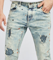 Decibel  Slim Fit Paint Dot Jeans L30  Blue - 033022L30-LTB | Licitatiiporumbei