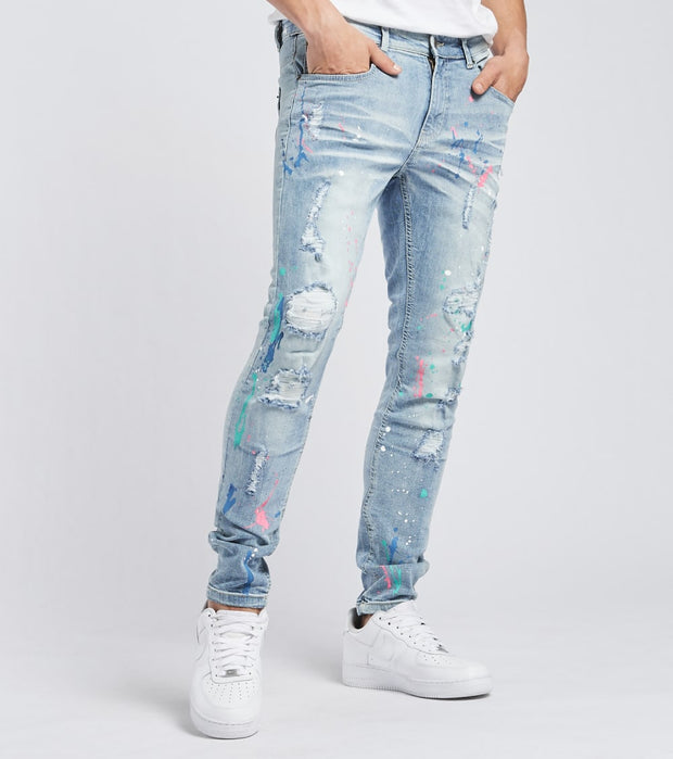 Decibel  Slim Fit Paint Splash Jeans L30  Blue - 033056L30-LSB | Jimmy Jazz