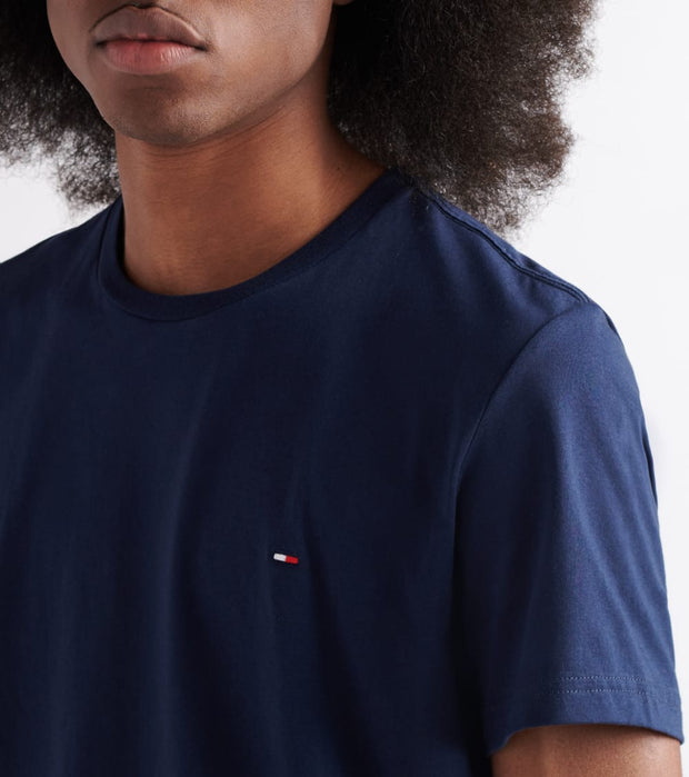 Tommy  Chest Logo Solid Tee  Navy - 09T3139-410 | Jimmy Jazz